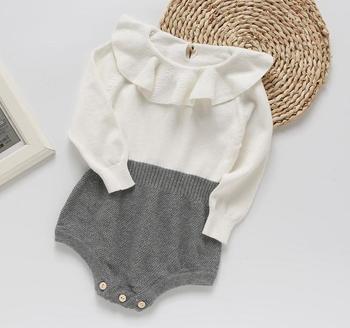 детская одежда прекрасные ползунки для малышей оборка воротник