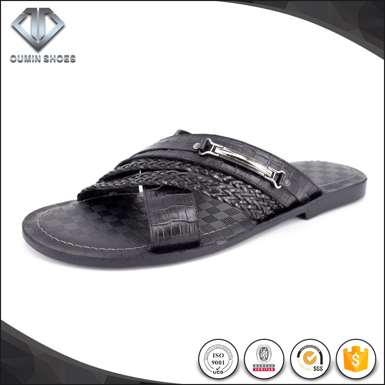 summer style genuine leather black slippers sandal men shoes 2017