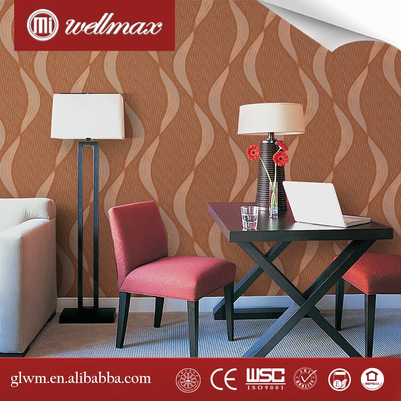 Wellmax Canton Fair 0.53*10m width eco friendly white fabric backed pvc vinyl wallpaper wallcovering rolls