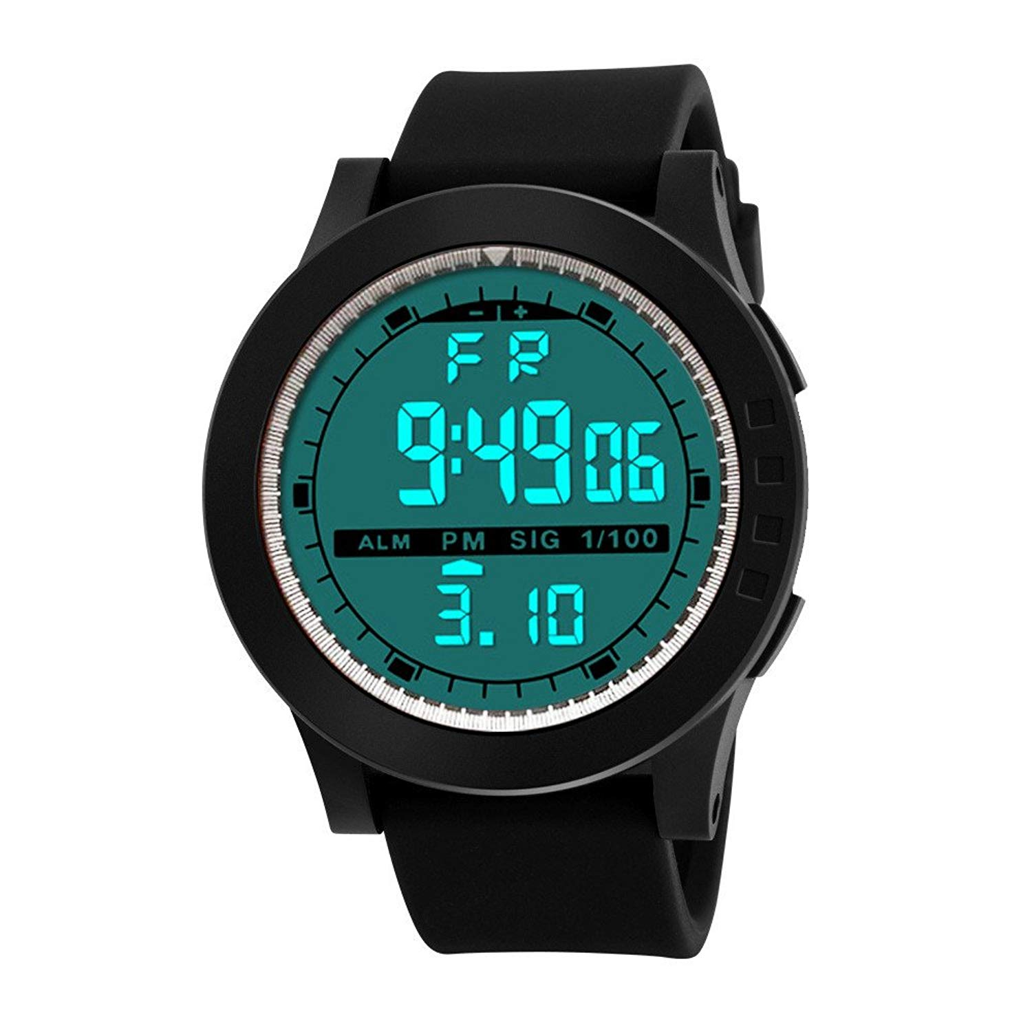 COOKI Mens Digital Sports Watches LED Screen Large Face Waterproof Military Watches and Casual Waterproof Luminous Simple Army Watch Stopwatch Alarm, Mens Watches on Sale Clearance