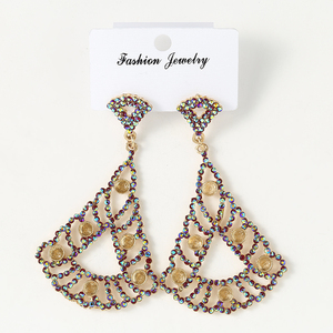 Gold Plated Geometry Rhinestone Vintage Bohemian Style Long Hanging Earrings