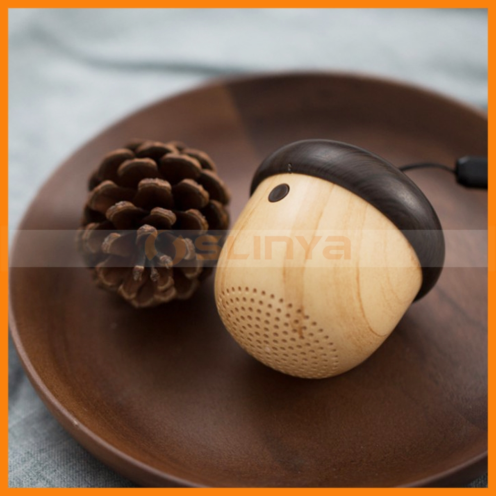 With Sling Built-in Mic Portable Mini Wireless Wooden Speaker