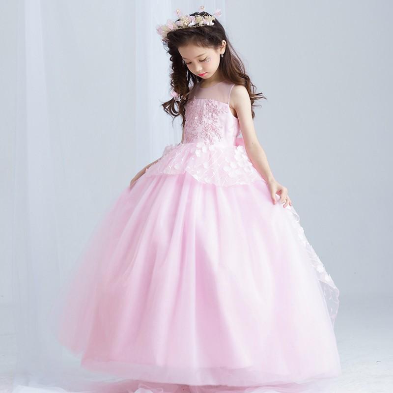 2017 New Kids Long Design Wedding Dresses Western Pink Flower Girls ...