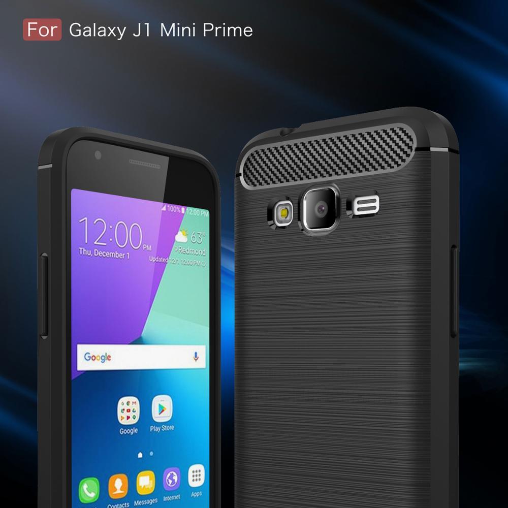 Cas Pour Samsung Galaxy J1 Mini Premier En Fiber De Carbone Texture Brosse Souple Silicone