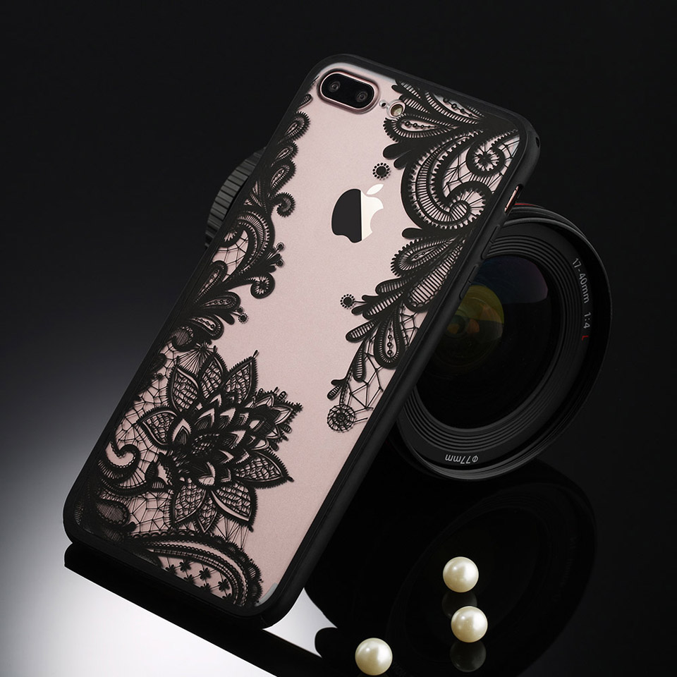 Phone Case For iPhone X 3D Lace Flower Back Cover For iPhone X 8 8 Plus 7 6s Plus