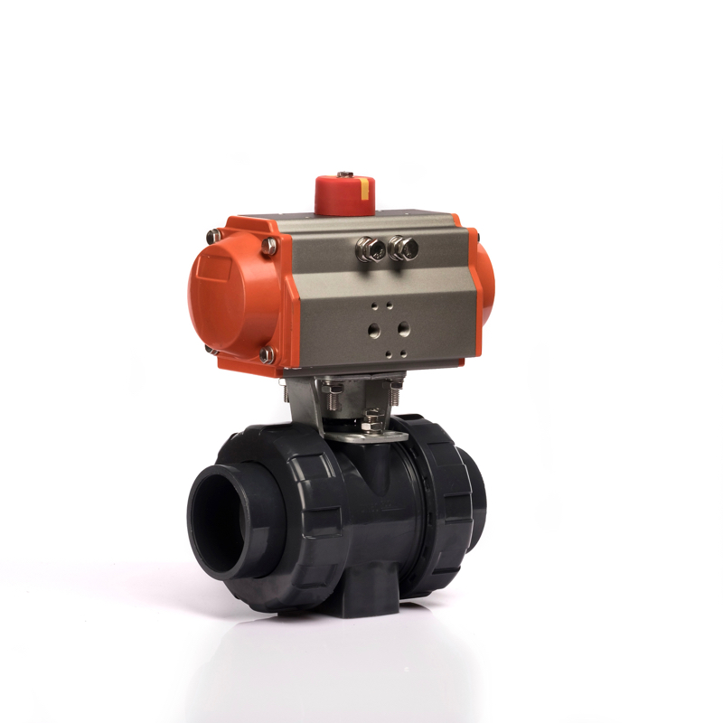 KLQD brand DN20 pneumatic actuated pvc double union ball valve for <strong>water</strong>