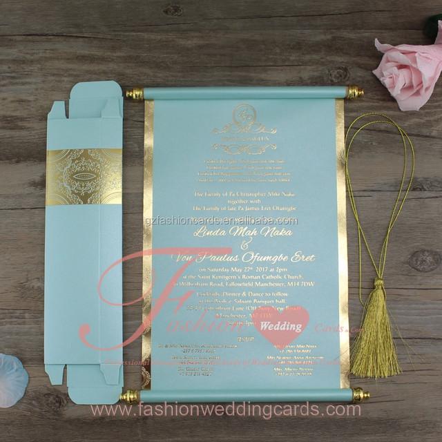 Tiffany Blue Paper Customized Gold Printed Wedding Scroll Invitations