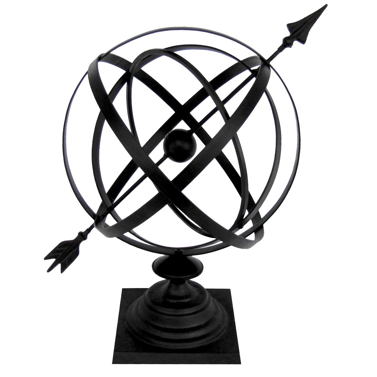 "Sundial Cast Iron 24"" Armillary Arrow Sphere Garden Decor"
