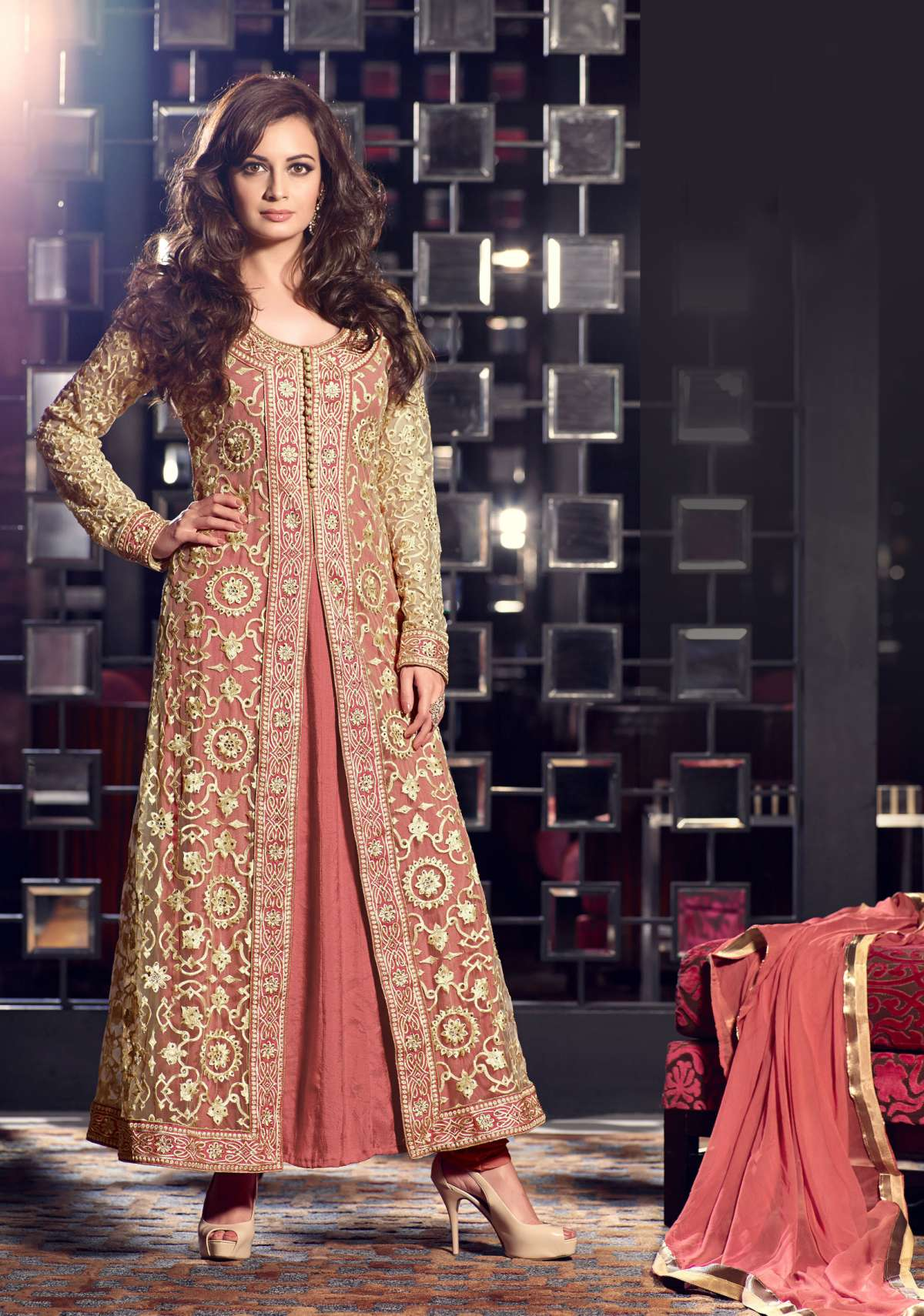 Triveni Dia Mirza's Auspicious Intricate Embroidered Net Anarkali Suit 13004