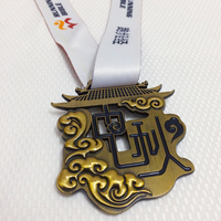 Custom-made 5k10k Chinese festival marathon with long purple hair in girl shape hollow medals