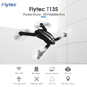 Original RC Drone WIFI FPV HD Camera 2.4G 4CH Quadcopter Foldable Arm Pocket Drone Flytec T13S