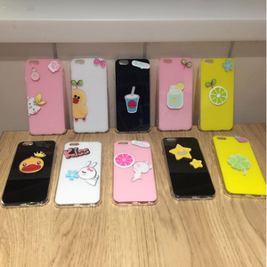 Cute Fruit Glossy Candy Soft TPU Phone Case For iPhone X Duck Flower Lemon Back Cover Bumper Case For iPhone 6 6S Plus 7 Plus