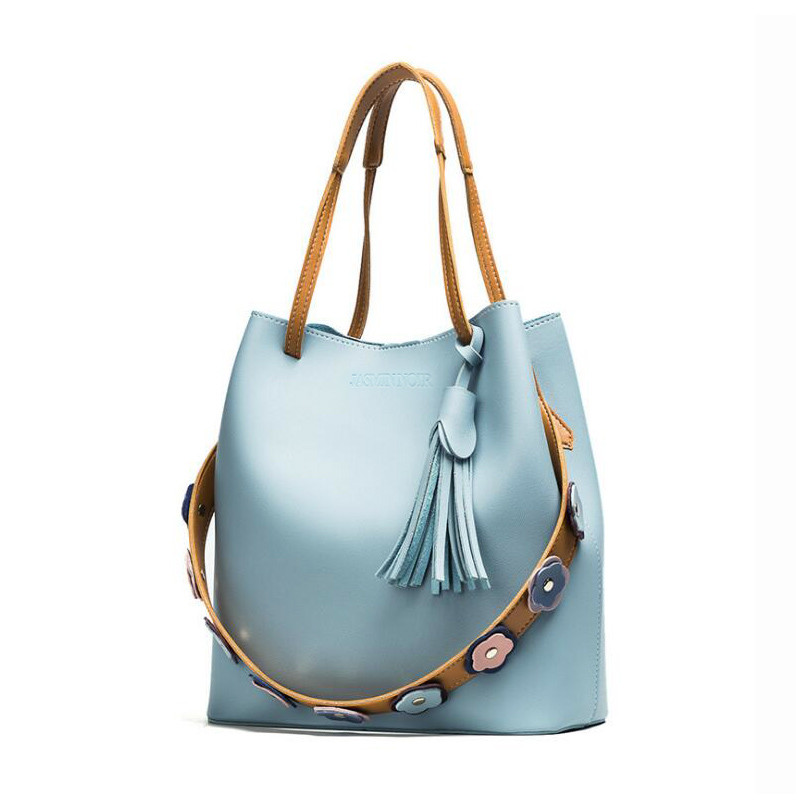 RY1344 Women Floral Appliques Bag Over Shoulder Lady Handbag Female Bucket Crossbody Bag