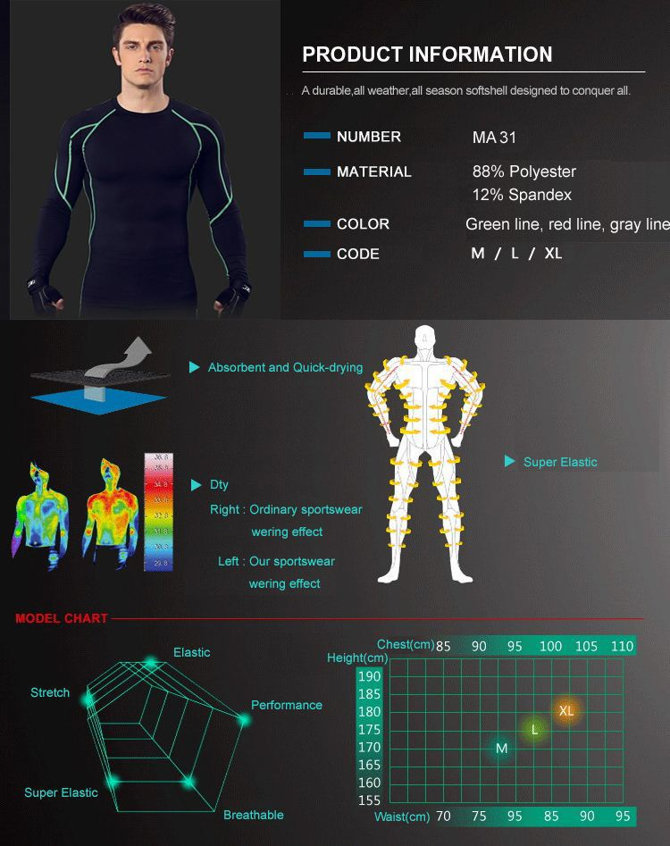 Running Training Clothing Elastic Compression Quick Drying Sports Tights MA31