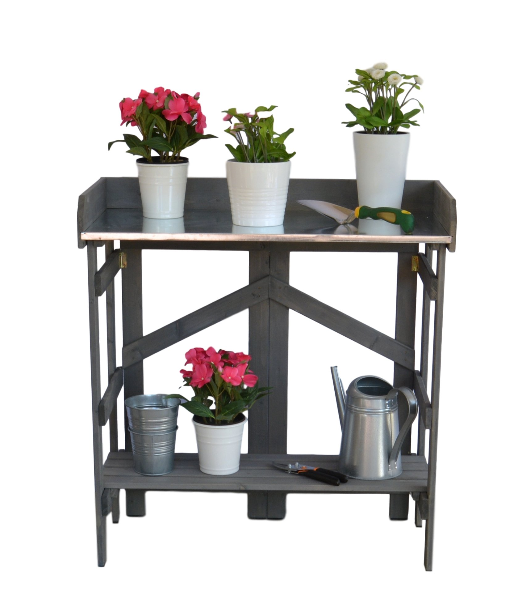 Vytal Folding Potting Bench Event Table Gray Ideal For Outdoor Gardening Or