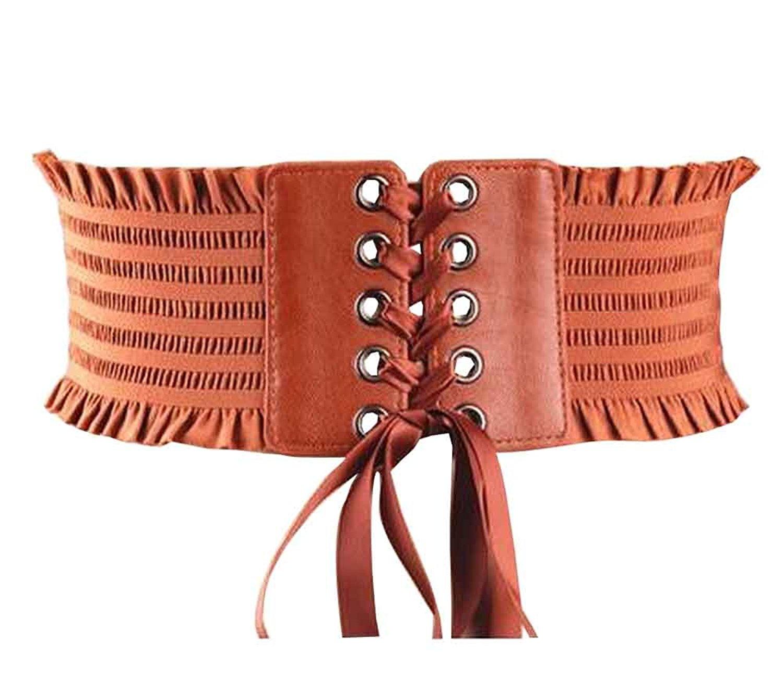 1eeabec43c9086 Get Quotations · Ladies Fashion Lace Waist Belt Elastic Belt Wide Girdle  Dress Belt  Camel