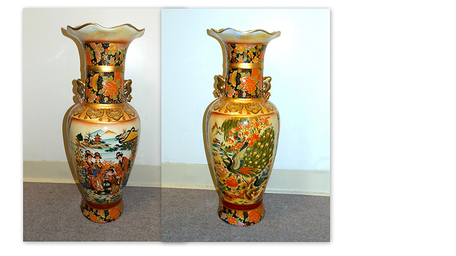 Cheap tall vase flowers find tall vase flowers deals on line at get quotations new 24 tall oriental asian double themed geisha scene and peacock bird with flowers scene reviewsmspy