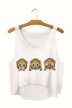 Summer Style 2015 New Women Crop Tops Irregular Printed Emoji Tank Tops Knitted Fashion Fitness Sports Top Short T Shirts SMV170
