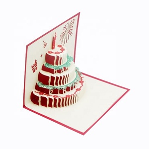 Stereo Card Creative Handmade Color Birthday Cake 3D Funny Birthday Greeting Pop Up Card Printers