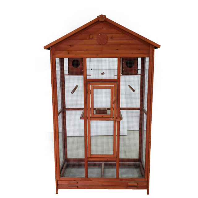 outdoor Indoor Parrot Finches Canary Wooden Aviary small Bird Cages