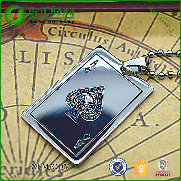 Unique design necklace accessories male square poker pendant