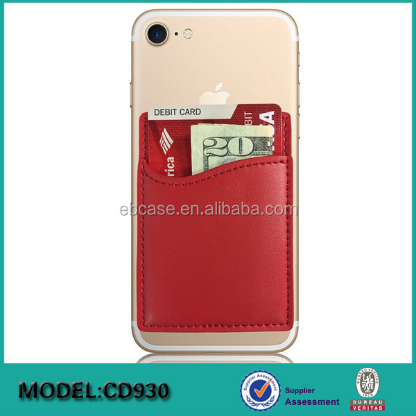 RFID blocking Cell Phone case 3M sticker Adhesive leather id credit Card holder Stick-on Wallet for mobile phone