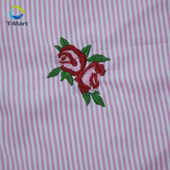Flower Embroidery Fabric Pink White Stripes Cotton Fabric Nautical