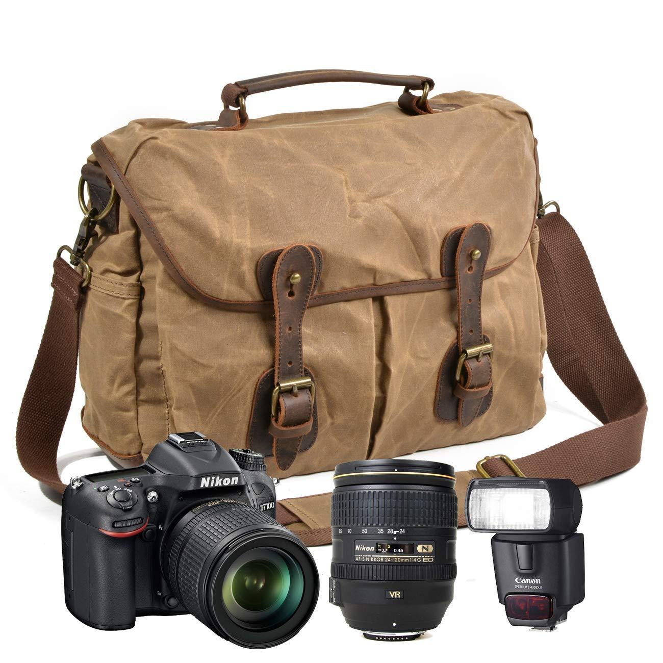 2082fc6764df Get Quotations · Peacechaos Men s Canvas Leather DSLR SLR Vintage Camera  Messenger Bag …