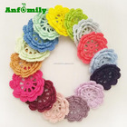 Large Handmade Crochet Flower Appliques Sewing Bow decorative handmade flowers for dresses