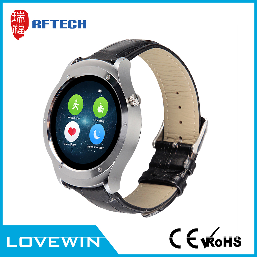 "2502C heart rate monitor smartwatch bluetooth smart watch with 1.3"" full round screen for android IOS phone"