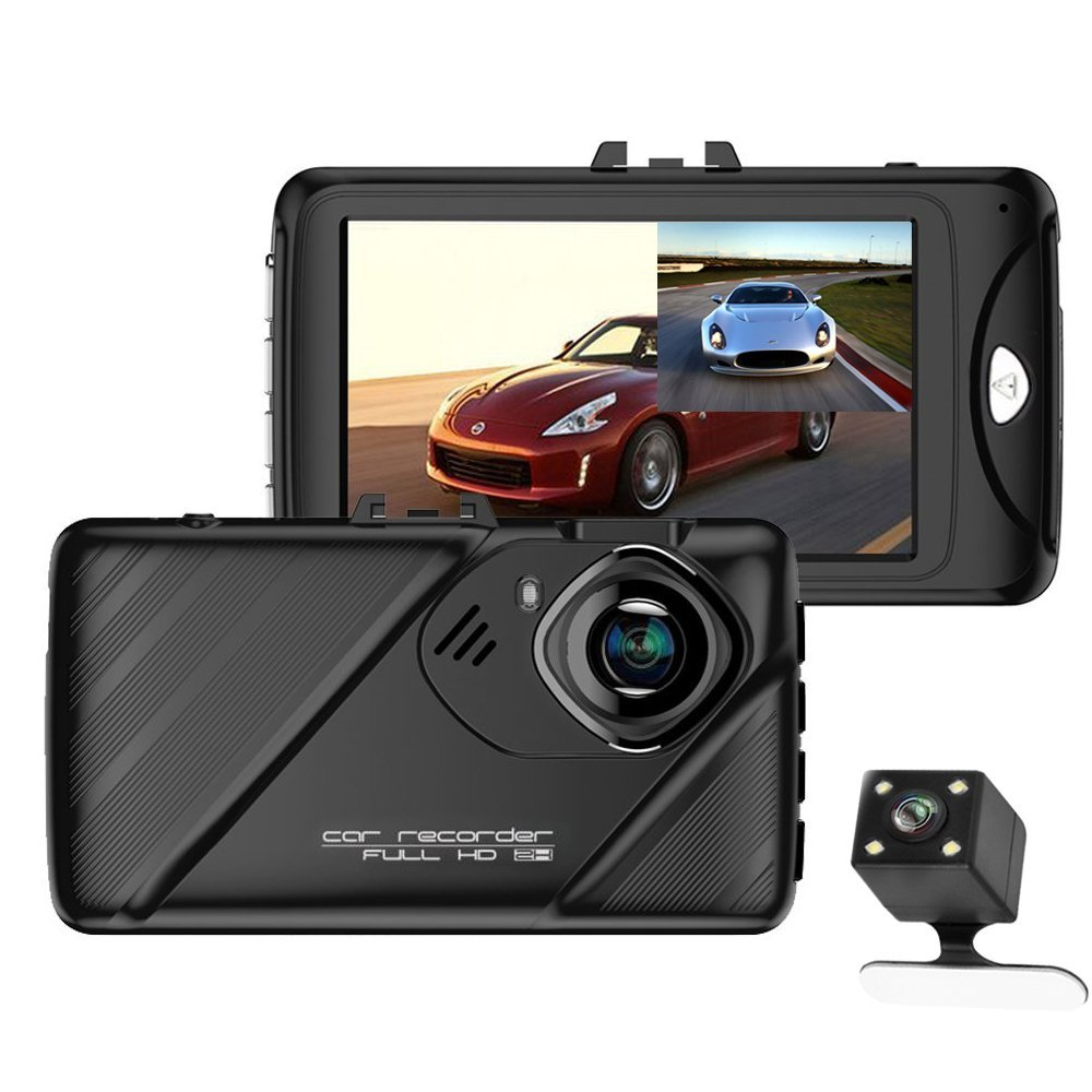 AMPrime Car Dash Cam 1080P Full HD 3 inch 170°Wide Angle Car Video Recorder Dual Lens Car Camera DVR Camera with HDR G-sensor Night Vision Front and Rear DVRs