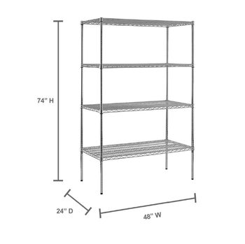 chrome wire showing shelf / 74 in. H x 48 in. W x 24 in. D 4-Shelf Chrome Wire Commercial Shelving Unit