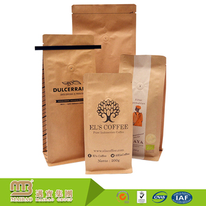 FDA Certificated Custom Printing Kraft Paper Resealable Food Packaging Brown Craft Bags With Ties And Valve