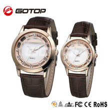 Fashion Gold Tone Brand Quartz Stainless Steel Back Leather Wrist Couple Watch Set