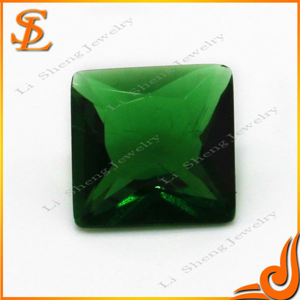 wuzhou hot sale AAA quality square shape Green diamond cutting glass stones