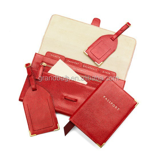 genuine saffiano leather travel collection promotion gift travel set kits leather passport cover luggage travel tags long wallet