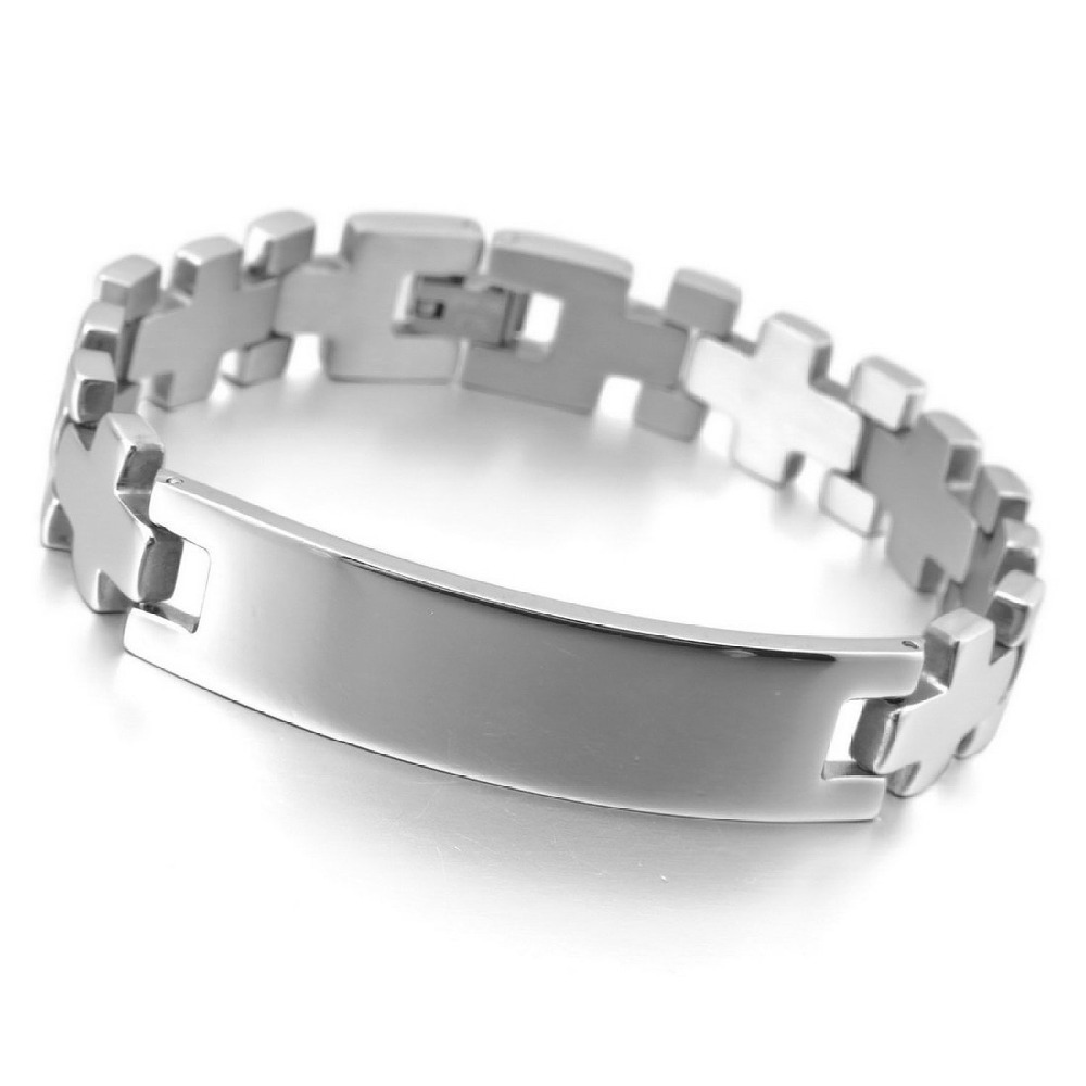 New Arrival Hot Sale Chic Gothic & All-Purpose Style Cross Polished Bracelets Made By Stainless Steel With Length 8.66inch