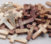 Bulk Jesus Imprinted Wood Crucifix, Rosary Cross, Religious Wooden Rosary Parts