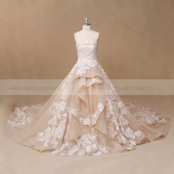 wedding gown designs western champagne ivory color wedding dress