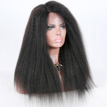 Premier Side Part 150% Density Italian Yaki Indian Remy Human Hair Lace front Wig For Black Women