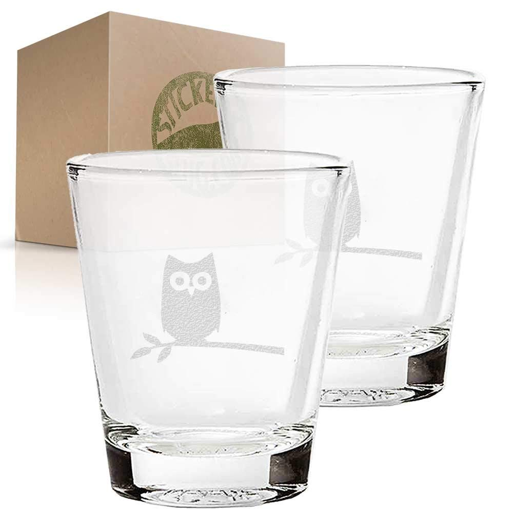 Owl Bird in Tree etched glass shot glass set of two etch shot glasses for bar