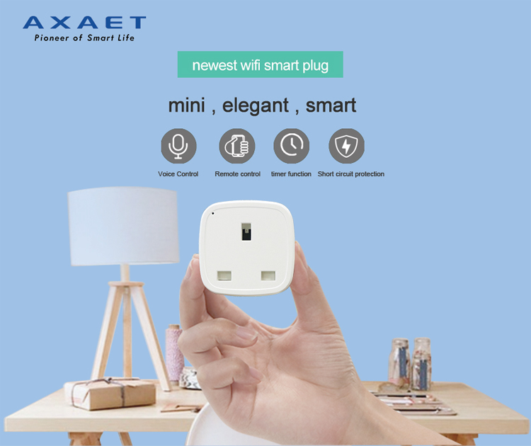 2018 New Design hot sell mini UK standard smart home product wifi smart plug works with alexa and google home