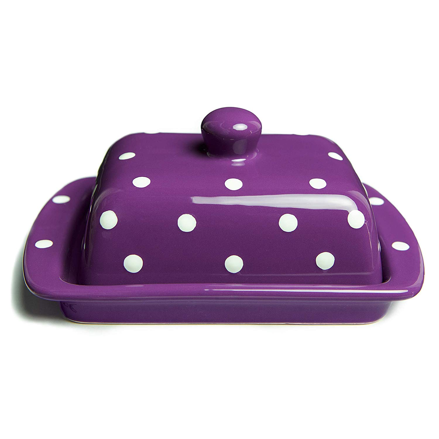 City to Cottage Handmade Ceramic European Covered Butter Dish with Lid | Unique Purple and White Polka Dot Pottery Butter Keeper | Housewarming Gift