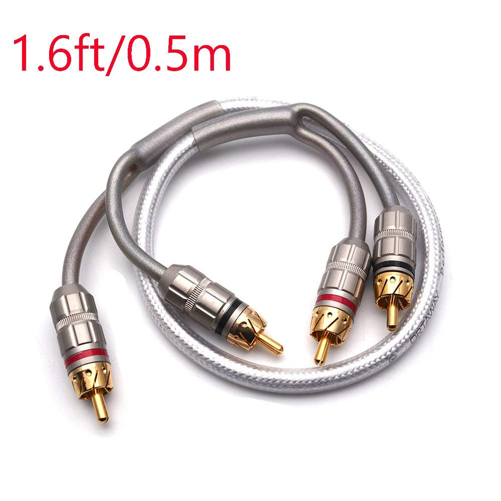 Sydien Car Audio Cable Stereo 2 Male to 2 Male RCA Audio Connection (1.6ft/0.5m)