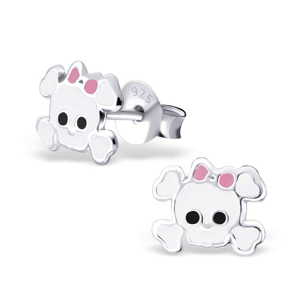 fd3fa7a40 Get Quotations · 925 Sterling Silver Hypoallergenic White Skull &  Crossbones w/ Pink Bow Stud Earrings for Girls