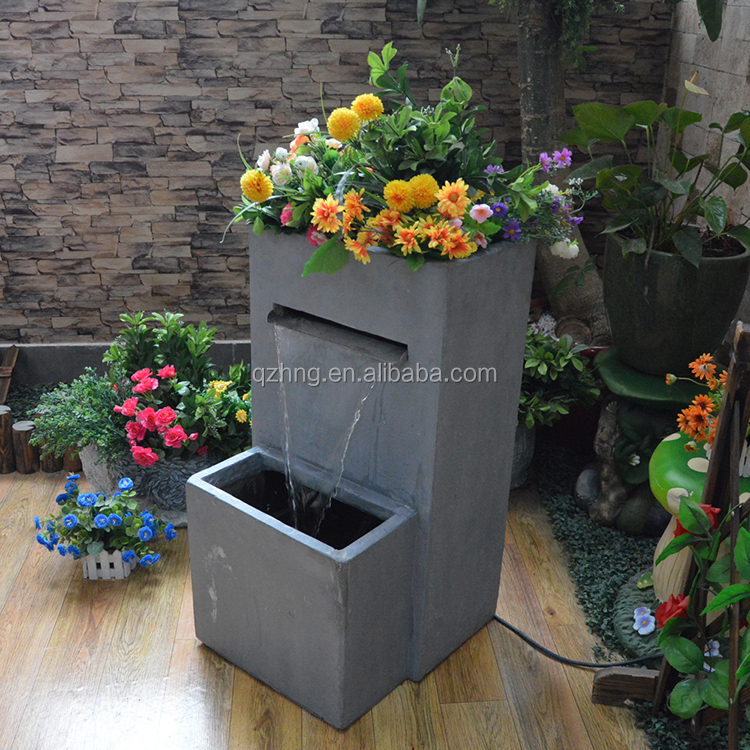 GRC large garden water fountain with flowerpot for outdoor use