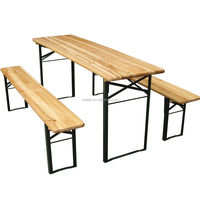 Sturdy frame heavy-duty Quick set-up outdoor wooden camping/pinic/BBQ folding wooden beer table set