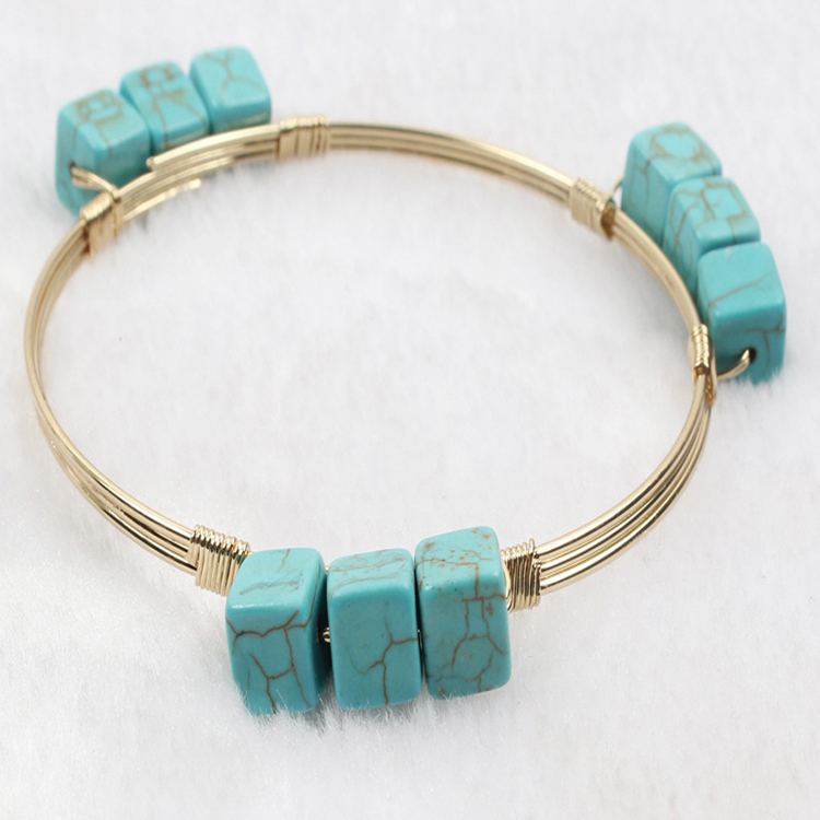 Cheap fashion jewellery Square Turquoise wire ring alloy bracelet wire jewellery create your own brand charm bracelet
