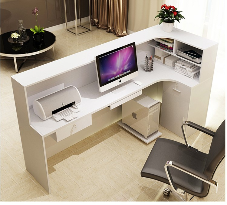 Mdf Pd Material Customized Size Furniture Office Front Desk Equipment Reception Counter Design
