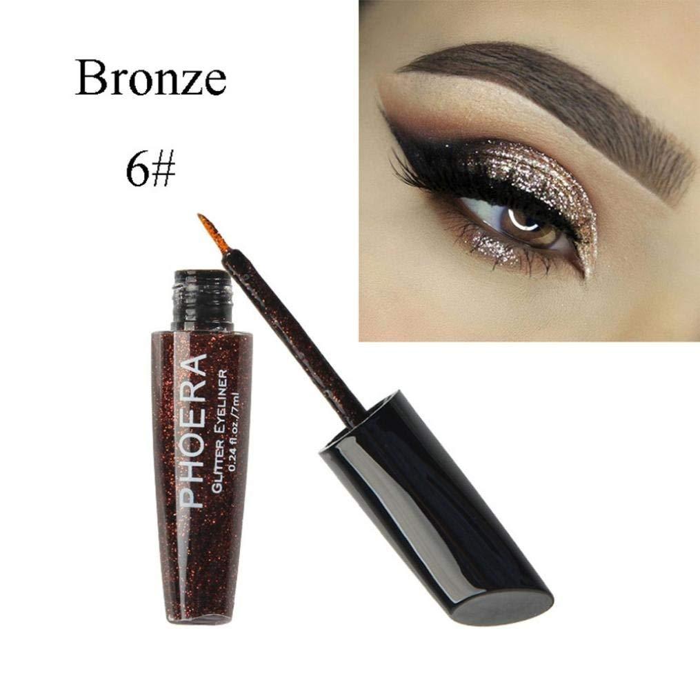 Matte Eyeshadow , Hunzed Women Metallic Shiny Eye Shadow Eyeliner Cosmetic Waterproof Glitter Makeup Eyeshadow Liquid Eyeliner For Beauty (F)